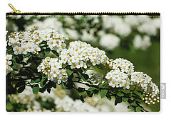 Carry-all Pouch featuring the photograph Close-up White Spirea Bush by Cristina Stefan