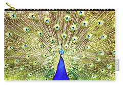 Closeup Of Peacock Displaying Train Carry-all Pouch