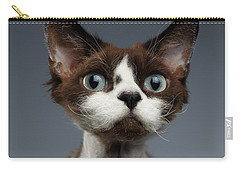 Closeup Portrait Of Devon-rex Looking In Camera On Gray  Carry-all Pouch