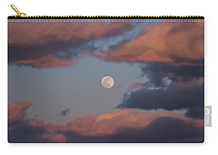 Carry-all Pouch featuring the photograph Clouds And Moon March 2017 by Terry DeLuco