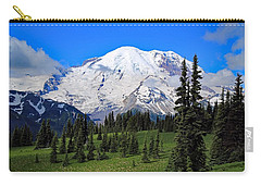 Carry-all Pouch featuring the photograph Clouds Clearing At Mount Rainier 2 by Lynn Hopwood