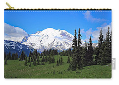 Carry-all Pouch featuring the photograph Clouds Clearing At Mount Rainier by Lynn Hopwood