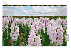 Clouds Over The Pink Hyacinth Field Carry-all Pouch by Mihaela Pater