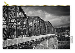 Clouds Over Walnut Street Bridge In Black And White Carry-all Pouch