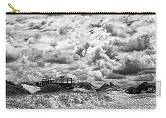Carry-all Pouch featuring the photograph Cloudy Beach Black And White By Kaye Menner by Kaye Menner