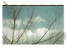 Carry-all Pouch featuring the photograph Cloudy Blue Sky Through Tree Top No 1 by Ben and Raisa Gertsberg