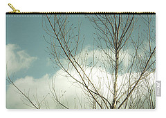 Carry-all Pouch featuring the photograph Cloudy Blue Sky Through Tree Top No 2 by Ben and Raisa Gertsberg