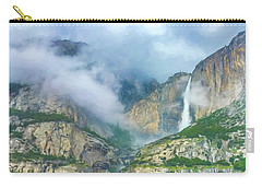 Cloudy Day At Yosemite Falls Digital Watercolor Carry-all Pouch