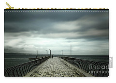 Carry-all Pouch featuring the photograph Cloudy Pier by Perry Webster