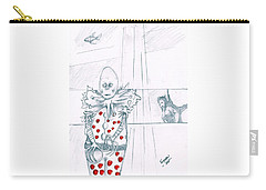 Clown With Crystal Ball And Mermaid Carry-all Pouch