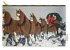 Carry-all Pouch featuring the painting Clydsdale Horses Bringing Home The Tree by Donald J Ryker III