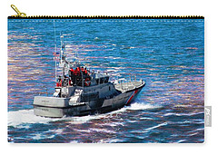 Carry-all Pouch featuring the photograph Coast Guard Out To Sea by Aaron Berg
