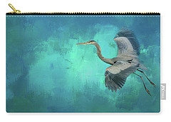 Coasting Blue Heron Bird Art Carry-all Pouch by Jai Johnson