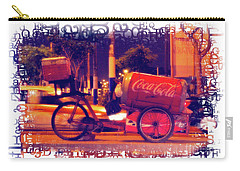 Carry-all Pouch featuring the photograph Coca Cola Tricycle Bin - Lima by Mary Machare