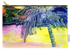 Carry-all Pouch featuring the painting Coconut Palm Tree 3 by Marionette Taboniar