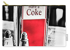 Carry-all Pouch featuring the photograph Coke Napkins by Karol Livote