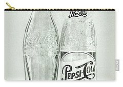 Coke Or Pepsi Black And White Carry-all Pouch by Terry DeLuco