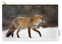Cold As Ice - Red Fox In A Snow Blizzard Carry-all Pouch