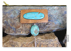 Cold Creek Turquoise Set In Gourd Wood #r113 Carry-all Pouch by Barbara Prestridge