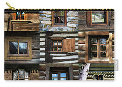 Collage From Handmade Traditional Wooden  Windows In Village Museum Bucharest Carry-all Pouch