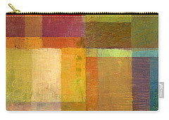 Carry-all Pouch featuring the painting Color Collage With Green And Red by Michelle Calkins
