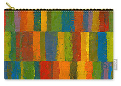 Color Collage With Stripes Carry-all Pouch by Michelle Calkins
