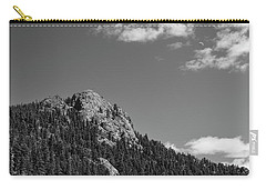 Carry-all Pouch featuring the photograph Colorado Buffalo Rock With Waxing Crescent Moon In Bw by James BO Insogna