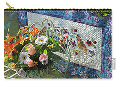 Carry-all Pouch featuring the mixed media Colordance With Quail Quilt by Nancy Lee Moran