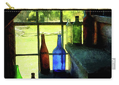 Carry-all Pouch featuring the photograph Colored Bottles On Steps by Susan Savad