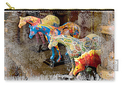 Carry-all Pouch featuring the photograph Colored Horses. by Andrey  Godyaykin