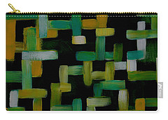 Carry-all Pouch featuring the painting Colored Lines On Black by Patricia Cleasby