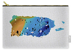 Colorful Art Puerto Rico Map Blue And Brown Carry-all Pouch