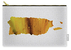 Colorful Art Puerto Rico Map Yellow Brown Carry-all Pouch