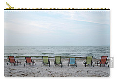 Carry-all Pouch featuring the photograph Colorful Beach Chairs by Ann Bridges