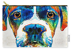 Carry-all Pouch featuring the painting Colorful Boxer Dog Art By Sharon Cummings  by Sharon Cummings