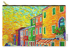 Colorful Burano Sunrise - Venice - Italy - Palette Knife Oil Painting By Ana Maria Edulescu Carry-all Pouch