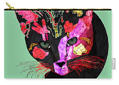 Colorful Cat Abstract Artwork By Claudia Ellis Carry-all Pouch