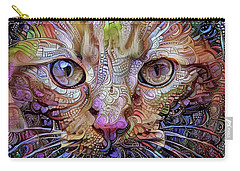 Colorful Cat Art Carry-all Pouch by Peggy Collins