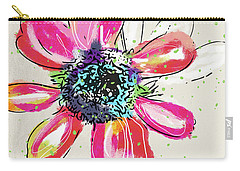 Carry-all Pouch featuring the mixed media Colorful Daisy- Art By Linda Woods by Linda Woods