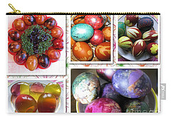 Carry-all Pouch featuring the photograph Colorful Easter Eggs Collage 07 by Ausra Huntington nee Paulauskaite
