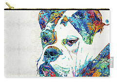 Carry-all Pouch featuring the painting Colorful English Bulldog Art By Sharon Cummings by Sharon Cummings