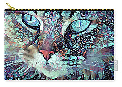 Colorful Flower Cat Art - A Cat Called Blue Carry-all Pouch by Peggy Collins