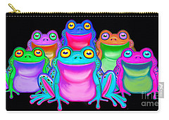 Carry-all Pouch featuring the painting Colorful Froggies by Nick Gustafson