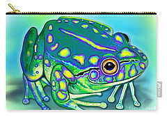 Carry-all Pouch featuring the painting Colorful Froggy by Nick Gustafson