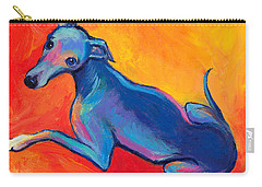 Colorful Greyhound Whippet Dog Painting Carry-all Pouch by Svetlana Novikova