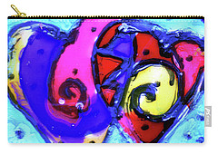 Carry-all Pouch featuring the painting Colorful Hearts Equals Crazy Hearts by Genevieve Esson
