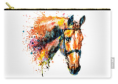 Carry-all Pouch featuring the mixed media Colorful Horse Head by Marian Voicu