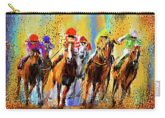 Colorful Horse Racing Impressionist Paintings Carry-all Pouch