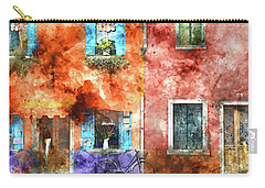 Colorful Houses In Burano Island, Venice Carry-all Pouch