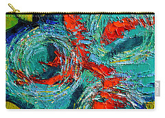 Colorful Koi Fishes In Lily Pond Carry-all Pouch by Mona Edulesco